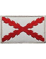 Parche de la bandera de España Tercio Morados Viejos Español SWAT táctico militar Morale Emblema (blanco)