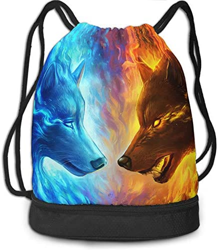 Gym Drawstring Bag for Men Women Bulk Fantastic Galaxy Demon Painting Wolf Ice Fight Fire Beam product image