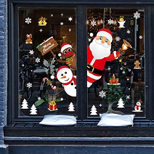 heekpek Feliz Navidad Papá Noel Muñeco de Nieve Alce de la Puerta Decoración de la Ventana Reutilizable Bricolaje Pegatinas Electrostáticas para Fiesta Doble Cara