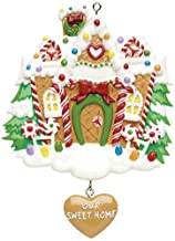 Personalized Our Sweet Home Christmas Tree Ornament 2019 - Glitter Snow Garnished Candy-Cane Gingerbread House Dangle Heart New Door 1st Elegant Front Mate Room Year - Free Customization