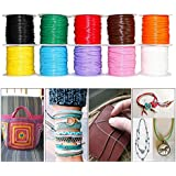 Waxed Cotton Cord Thread 1.0 mm,10 Colours for Jewelry Making, Crafting, Macrame, Leather Works, Sewing, Binding, Gift Wrapping, Stringing, Lacing, Friendship Bracelets, Scrap Booking (10 Pack, 100 meters)