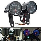 Maso - Velocímetro digital LED doble para motocicleta con cuentakilómetros, tacómetro, nivel de aceite, retroiluminado