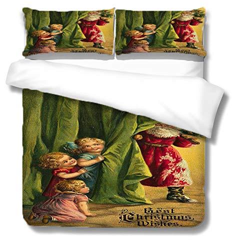 HKDGHTHJ Funda nórdica Pintura al óleo Figuras navideñas 260 x 230 CM Juego de Ropa de Cama de Estilo Simple, Funda de edredón Suave, sábana, Fundas de Almohada, Ropa de Cama para niños y Adultos
