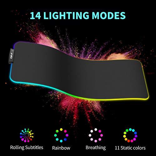 GIM RGB Gaming Mauspad XL LED Mousepad Großes 800 x 300 x 5mm 14 Beleuchtungsmodi Maus Mat Beleuchtung Tastatur Unterlage Extra USB Eingang für Maus, Tastatur oder Handy