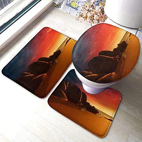 N \ A Fire Beach 3 Piece Bathroom Rug Set, Anti-Skid Pads Bath Mat + Contour + Toilet Lid Cover