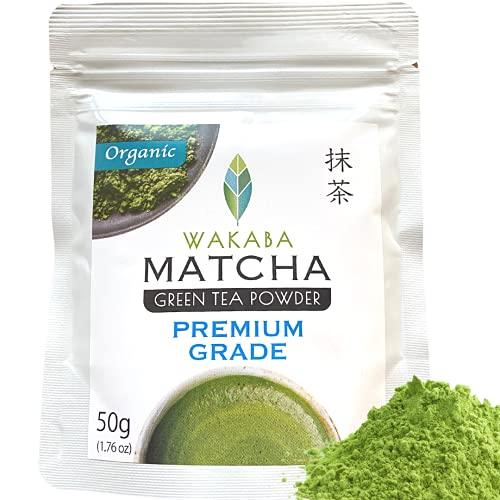 WAKABA-Matcha Pulver Bio 50g [Premium] - Hergestellt vom Matcha Café Wakaba - Echter Bio-Matcha (DE-ÖKO-013) - Ohne Zusätze,vegan,rein natürlich - Perfekt für [Matcha Latte]
