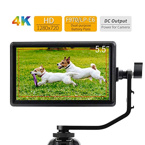 Vbestlife Camera Field Monitor, S55 5.5inch 4K HDMI Camera Monitor 1280x720 Hoge resolutie16:9 Beeldverhouding voor DSLR Camera's