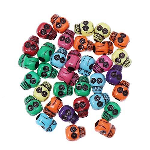 Supvox 500 Stück Totenkopf Perlen - Totenkopf lose Spacer Perle Charme für Kinder, Skelett Kopf Perlen für Halloween basteln, Kinder Schmuck Machen Zubehör