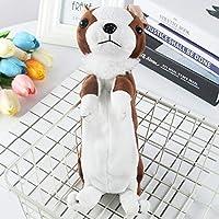 鉛筆ケースかわいい犬の鉛筆バッグソフトぬいぐるみ学校文房具鉛筆バッグ男の子のためのギフト、後ろで開く