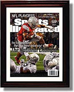 Framed Ohio State Ezekiel Elliott Sports Illustrated Autograph Replica Print - 2014 National Champs!