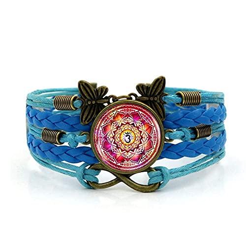 Pulsera tejida, cuerda azul Colorida Personalidad india Patrón étnico, Pulsera de piedras preciosas de tiempo Multi-capa Mano tejida de vidrio Joyería de la joyería de la moda de la moda de estilo eur