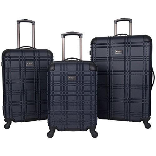 Ben Sherman Nottingham 3-Piece Lightweight Hardside 4-Wheel Spinner Travel Luggage Set: 20' Carry-On, 24', & 28', Navy
