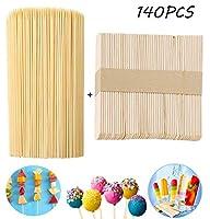 Unique Store Bastoncini in legno (140 pezzi), 15 cm, 90 bastoncini di legno naturale per torte, spiedini da barbecue, spiedini di frutta, 114 mm x 10 mm, 50 bastoncini per gelato