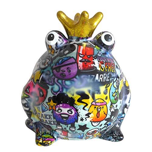 Pomme Pidou Spardose Frosch Froschkönig Graffiti hellblau 15x17 Sparbüchse Geldgeschenk