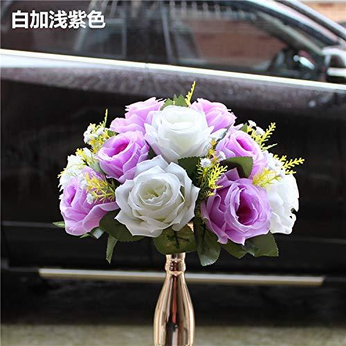 Wedding Road Guide Table Flower Simulation Silk Flower Simulation Flower Ball Wedding Car Staircase Decoration Wedding Supplies Props 26cm*12cm White plus light purple