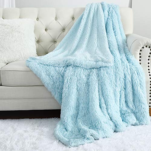 Ruihoo Fluffy Throw Blankets for Couch Bed, 50'' x 60'' Light Blue, Plush Fuzzy Long Fur and Cozy Soft Sherpa Reversible Blanket - Hypoallergenic Machine Washable - Ideal for Baby Girls Boys Kids