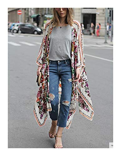 Elegantes Bikini Encubrimientos Boho Larga Impresa Kimono Cardigan de algodón de la túnica de Las Mujeres más el tamaño de la Playa del Desgaste del Juego de Nadada Cover Up Pareos Ropa de Playa