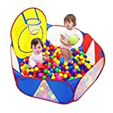 Eocolz Kids Ball Pit Large Pop UpChildrens Ball PitsTentfor ToddlersPlayhouseBaby CrawlPlaypen with Basketball Hoop and Zipper Storage Bag, 4 Ft/120CM, Balls Not Included