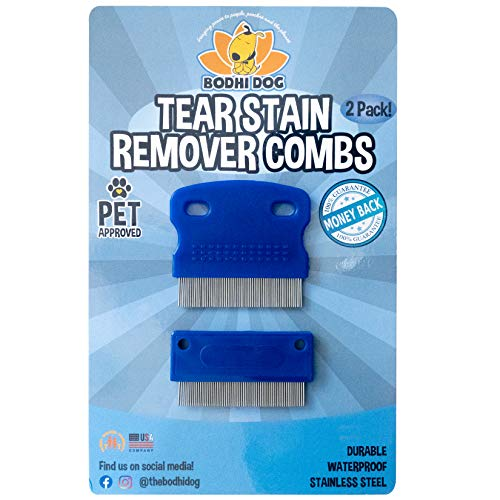 Bodhi Dog Tear Eye Stain Remover Combs | Set of 2 | Clean and Remove Crust, Mucus, Dirt, Buildup around Pet Eyes | Best for Dogs & Cats Fur and Coats