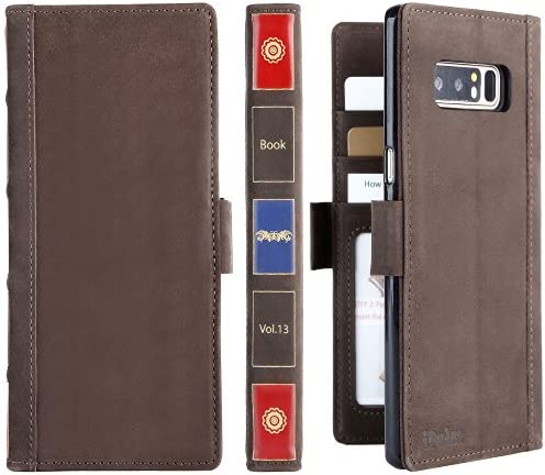 iPulse Vintage Book for Galaxy Note 8 Genuine Leather Case Handmade Flip Wallet Case for Samsung product image