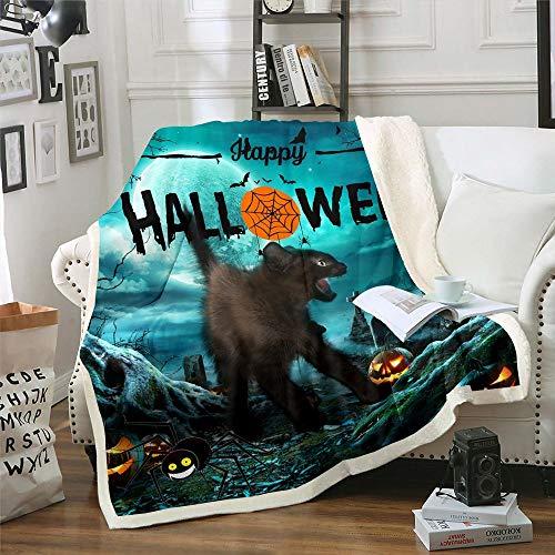 Manta sherpa de Halloween para niños, tamaño doble para niños y niñas, gato con impresión de luna, manta de felpa, manta de lana de franela para dormitorio, color azul