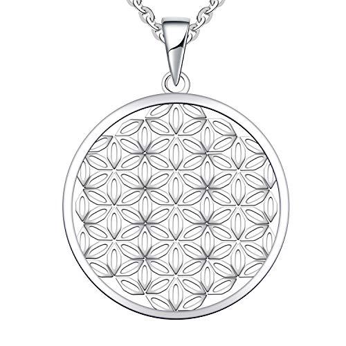 JO WISDOM Collana di Fiore della vita Argento 925 Donna,Ciondolo con Catena con placcato in Oro Bianco