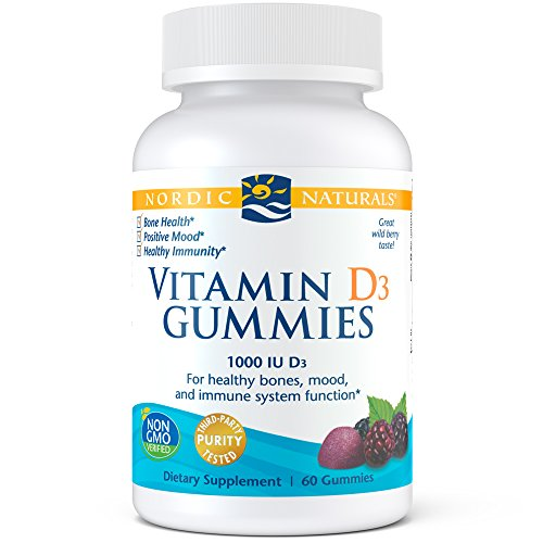 Nordic Naturals Vitamin D3 Gummies, Wild Berry - 1000 IU Vitamin D3 - 60 Gummies - Great Taste - Healthy Bones, Mood & Immune System Function - Non-GMO - 60 Servings