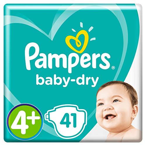 Pampers Baby-Dry Größe 4+, 41 Windeln, 10-15 kg, Essential Pack, Luftkanäle für atmungsaktive Trockenheit über Nacht