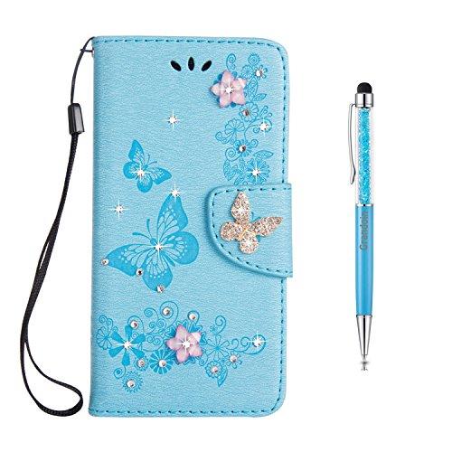 Grandoin Coque Sony Xperia XZ1 Compact, Portefeuille Imprimé Fleur et Papillon Etui en PU Cuir Housse à Clapet Flip Portefeuille de Carte Slots, Fonction Support pour Sony Xperia XZ1 Compact (Bleu)