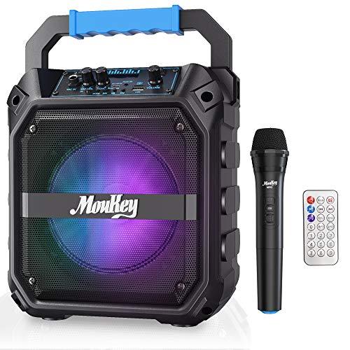 Altavoces Karaoke Moukey Sistema de Audio Altavoz PA Bluetooth Inalámbrica Portátil Recargable 6,5 Pulgadas con Micrófono VHF, Luces de DJ, Capacidad de Grabación, Radio TF Card/USB/FM