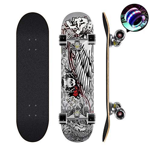 Skateboards Pro 78,7 cm Komplett-Skateboards Double Kick Longboard für Teenager Anfänger Mädchen Jungen Kinder Erwachsene, 7-lagiges Ahornholz Skateboard (schwarz)