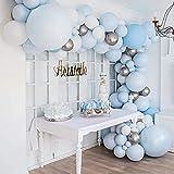 MMTX Kit de Guirnalda de Globos, Globos de Fiesta Kit de Guirnalda, Blanco y Azul Paquete de Globos para Decoración de Baby Shower Boda Cumpleaños Fiesta