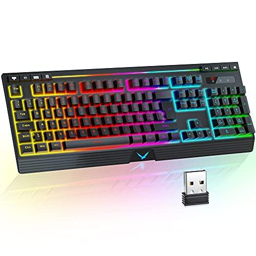Tastiera Wireless Retroilluminata RGB, TopMate Tastiera da Gioco Ricaricabile LED 2.4G, Tastiera Senza Fili Sensazione Meccanica con Poggiapolsi+Tasti Multimediali, per PC/Laptop/PS4/Xbox One/Windows