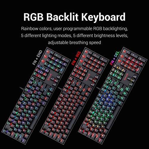 Redragon K551-RGB-BA Mechanical Gaming Keyboard and Mouse Combo Wired RGB LED Backlit 104 Key Keyboard & 7200 DPI Mouse for Windows PC Gamers (104 Key Keyboard Mouse Set)