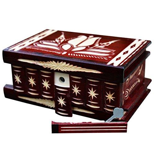 Joyero Joyero, soporte para anillos, regalo para mujeres, cajas de almacenamiento decorativas, caja de misterio secreto de madera tallada (rojo oscuro)