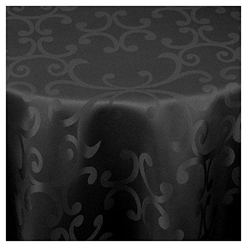 Meine-Tischdecke Damast Rund Maßanfertigung im Milanodesign 80cm Rund in Schwarz
