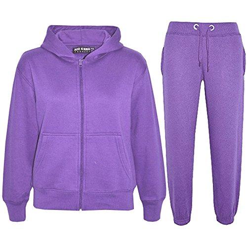 A2Z 4 Kids® Kinder Mädchen Jungen einfarbig Trainingsanzug Kapuzenpullover - Violett, 7-8 Jahre