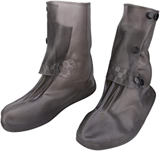 Strnek Silicone Rain Boots, Waterproof and Rainproof Shoe Covers, Thick Wear-Resistant and Odor-Free, Anti-Skid Shoe Covers High (Grey)(XL)