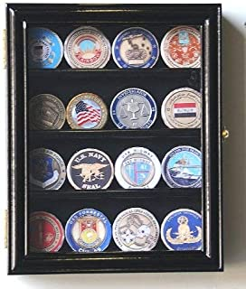 XS Military Challenge Coin Display Case Cabinet Holder Rack Box Holds up to 20 Coins, 98% UV, Lockable