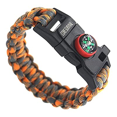 Paracord Survival Bracelet - Hiking Multi Tool, Emergency Whistle, Compass for Hiking, Camp Fire Starter from Makesense Marketing