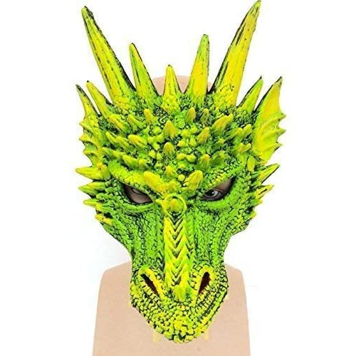 464724c4a The Rubber Plantation TM 619219303866 Stunning Deluxe Green Dragon Latex  Mask Cosplay Halloween Costume, Unisex