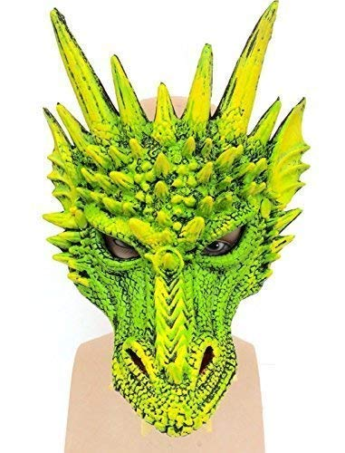 De Rubber Plantation TM 619219303866 Prachtige Deluxe Groene Draak Latex Masker Cosplay Halloween Kostuum, Unisex-Volwassene, One Size