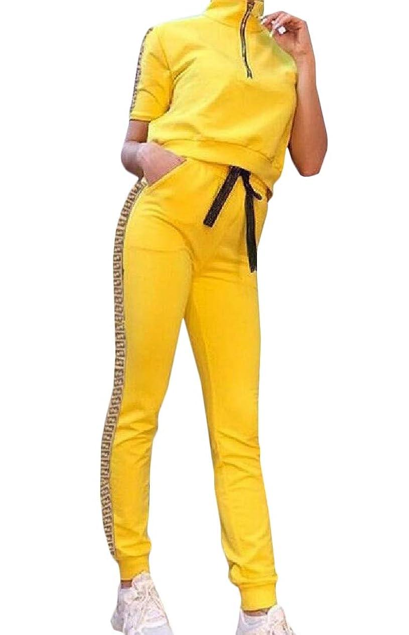 額ガチョウ西部女性のスポーツウェアカジュアル半袖Tシャツとパンツトラックスーツセット