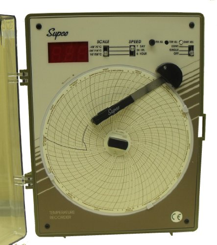 Supco CR87J Fahrenheit Type J Thermocouple Temperature Circular Chart Recorder, 6
