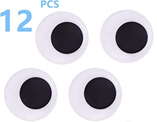 2 Inch Black Big Wiggle Googly Eyes with Self-Adhesive, 12 Pieces