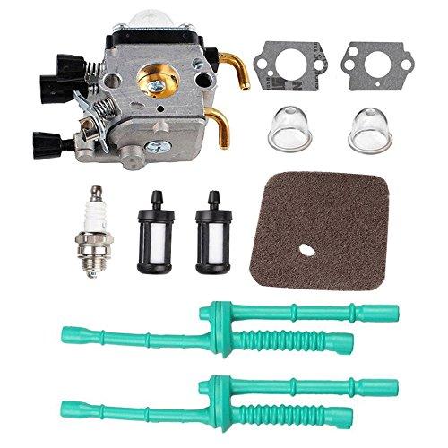 Podoy C1Q-S97 Carburetor for Compatible with STIHL FS55 FS55R Carb with Air Filter Fuel Line Primer Bulb Kit FS38 FS45 FS45C FS45 L FS46 FS46C FS55C FS55R FS55RC FS55T KM55 KM55C ZAMA Carburetor FS80