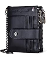 Black Leather Bifold Wallets for Men with Chain Double Zipper Design Rfid Blocking Wallet Card Holder Coin Pocket