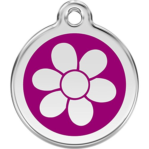 Red Dingo Personalized Flower Pet ID Dog Tag (Medium Purple)