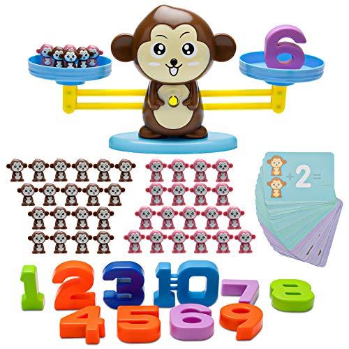Equilibrio Balanza Mono para Sumar - Sirecal Juego de matemáticas Mono Digital Educativo Montessori Juguetes Contable para Niños matemáticas básicas de Aprendizaje para niños