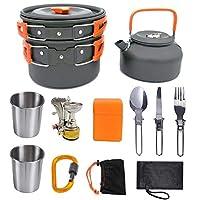 実用的なポータブル屋外キャンプ調理器具キャンプハイキングピクニックティーポットポットセットストーブスプーンフォークナイフケトル付きノンスティック食器